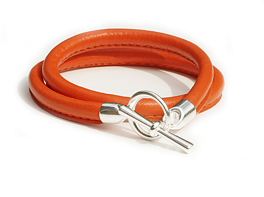 Läderarmband - orange